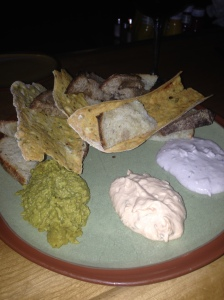 The Green Well's Bread & Spread (Dips: curry lentil, tomato basil, and blueberry jalapeño)
